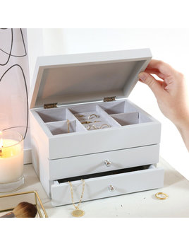 Lisa Angel Grey Jewelry Box w/ Pull Drawers