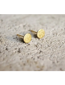 Wild Juniper Gold Stud Earrings - Hypoallergenic Textured Circles