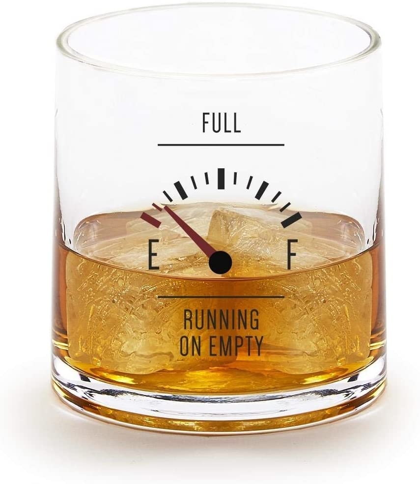 Two's Company Running On Empty Double Old Fashioned Glass