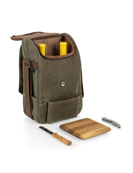Picnic Time 2 Bottle Insulated Wine Cooler Bag - Khaki Waxed Canvas