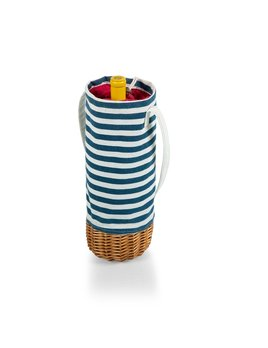 Picnic Time Malbec Insulated Canvas & Willow Wine Basket Blue & White Stripe