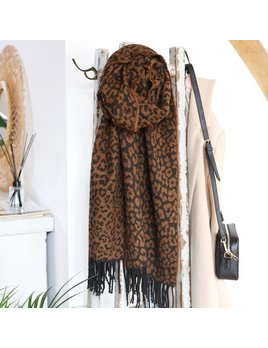 Lisa Angel Animal Print Blanket Scarf in Camel