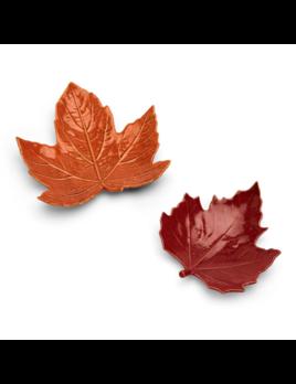 Two's Company Leaf Tidbit Plates w/ Picks - Set of 2
