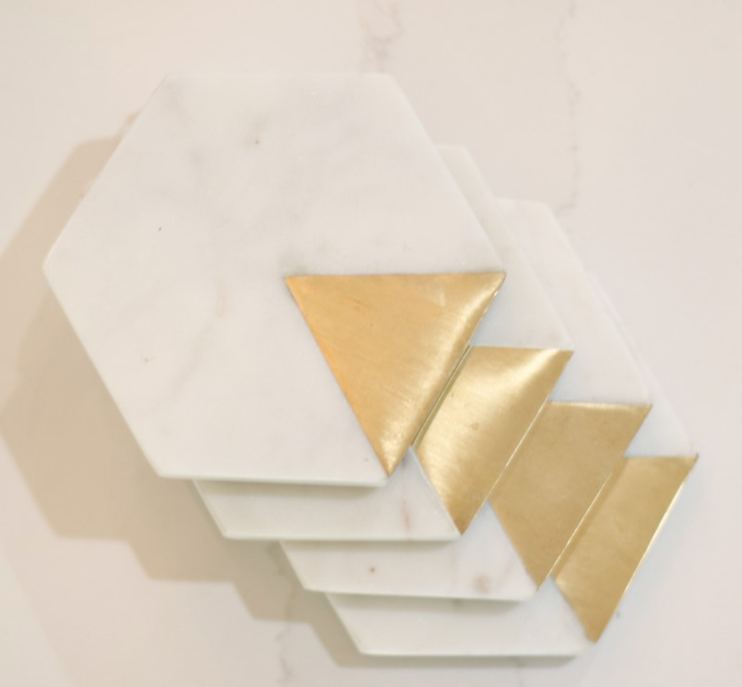 Mary Square Coaster Marble & Gold