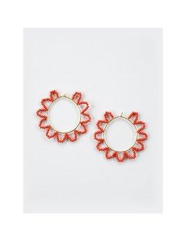Mata Traders Scalloped Hoop Earrings Coral