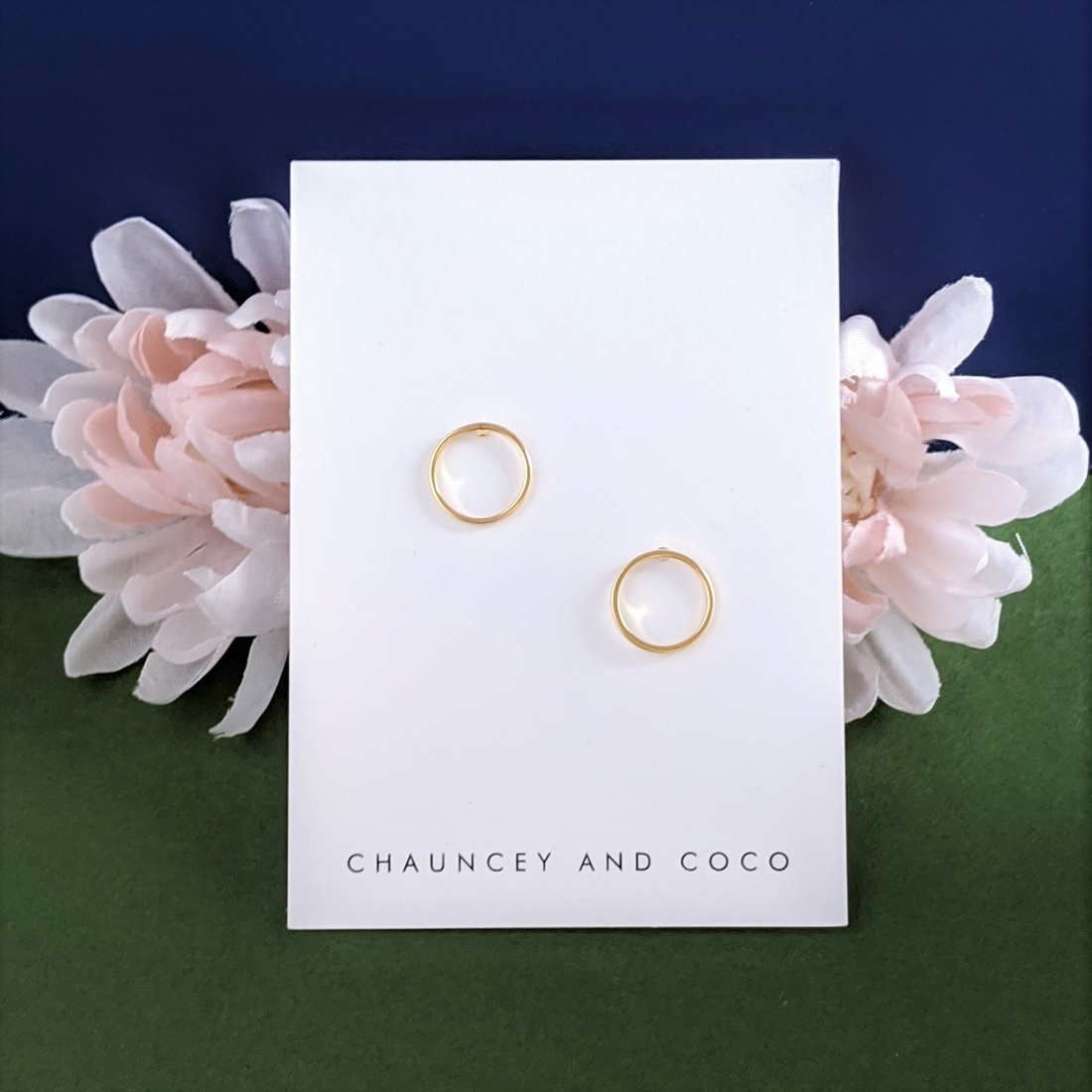 Chauncey and Coco Gold Circle Outline Stud Earrings