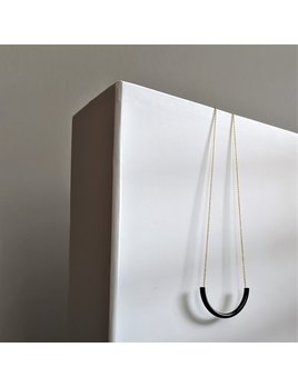 Chauncey and Coco Minimalist Black Tube Brass Necklace