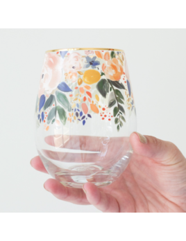 Mary Square Glass Stemless Wine Enchanted Garden