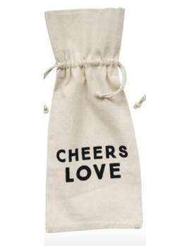 Creative Co-op Cotton Wine Bag w/ Saying - Cheers