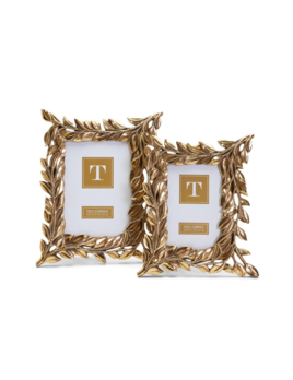 Two's Company Golden Laurel Photo Frame