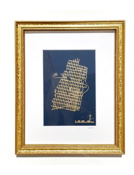 Britt Ford Framed & Matted Hoboken Embossed Map 5x7 - Navy w/ Gold.  Gold Frame