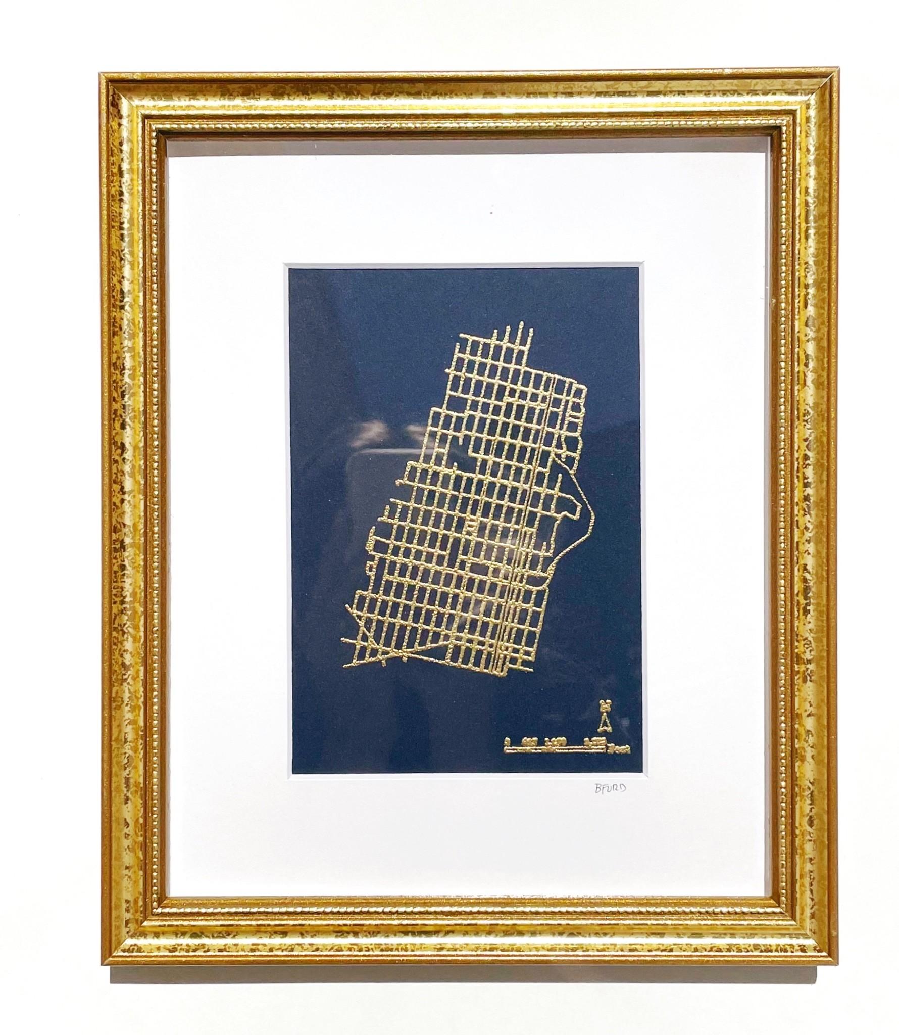 Britt Ford Framed & Matted Hoboken Embossed Map 5x7 - Navy w/ Gold.  Gold Frame