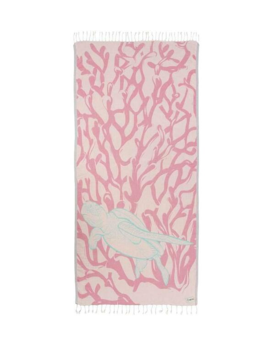 Sand Cloud Blush Coral Reef Sea Turtle Beach Towel