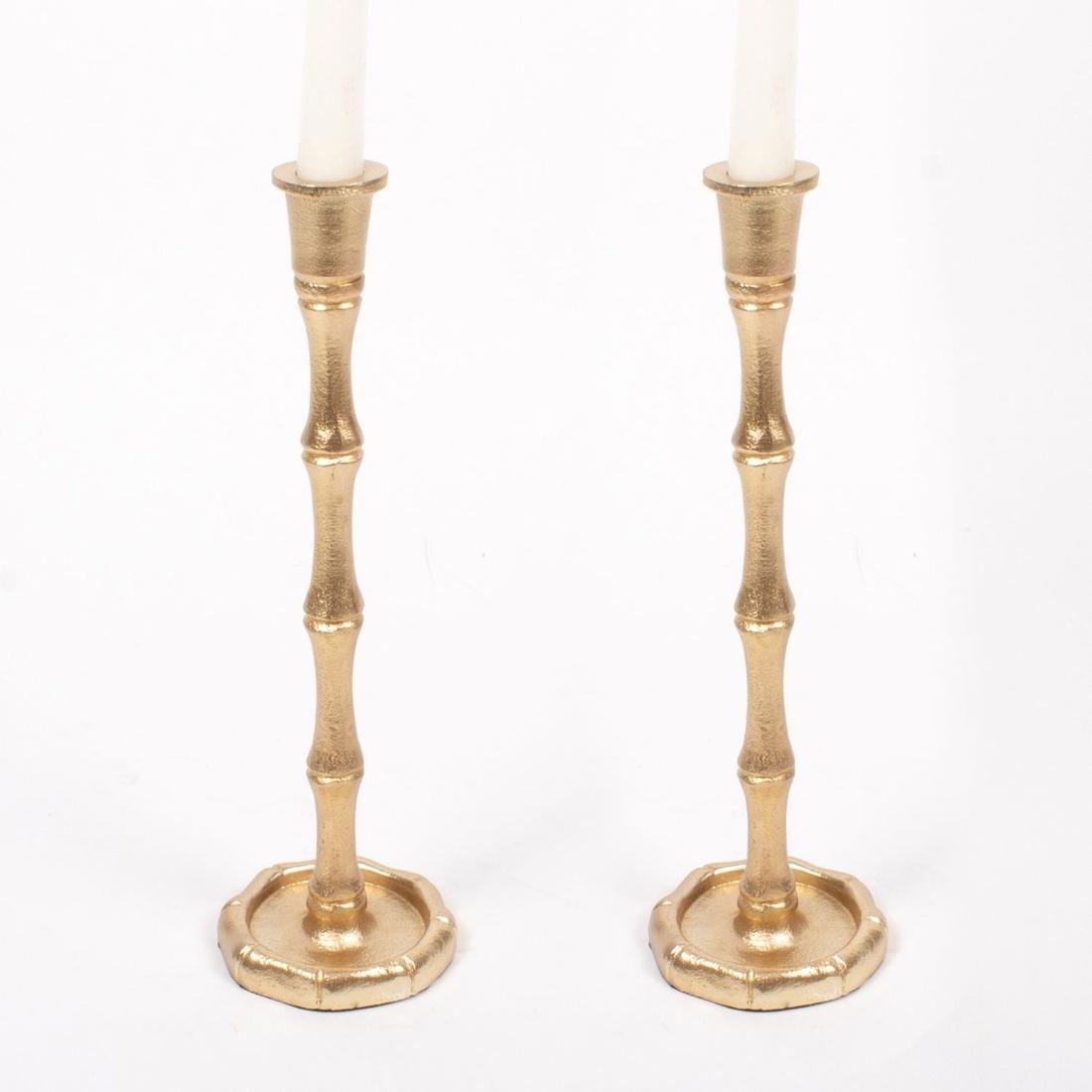 8 Oak Lane Candlestick Large - Gold Bamboo