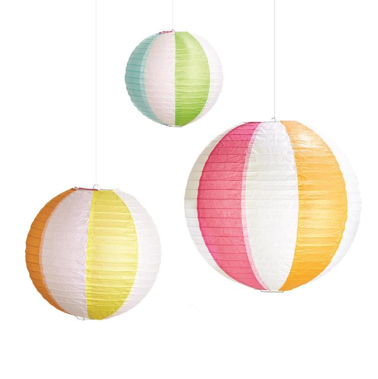 Two's Company Beach Ball Pattern Decorative Lanterns Sets