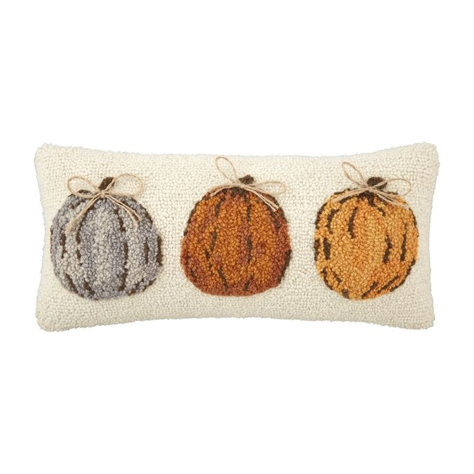 Mudpie Pumpkin Trio Hooked Pillow