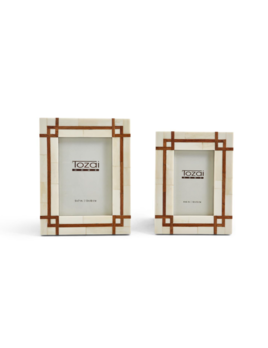 Two's Company Bordered Photo Frames w/ Wood Inset