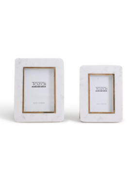 Two's Company Hoxton White Marble Photo Frames