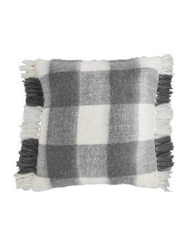 Mudpie Gray Check Fringe Pillow