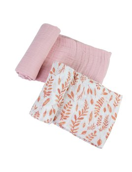 Bebe Au Lait Pink Leaves & Cotton Candy Classic Muslin Swaddle Blanket Set