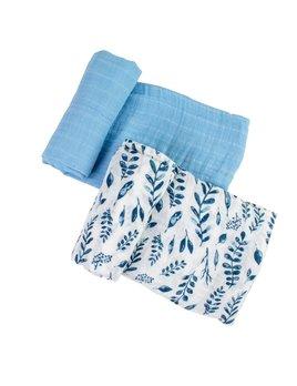 Bebe Au Lait Blue Leaves & Cornflower Classic Muslin Swaddle Blanket Set