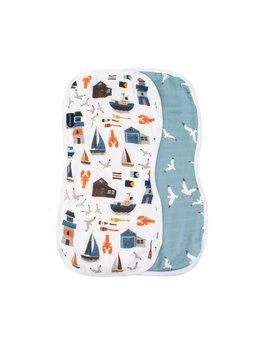 Bebe Au Lait Nautical & Seagulls Oh- So - Soft Muslin Burp Cloths