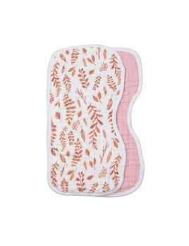 Bebe Au Lait Pink Leaves & Cotton Candy Classic Muslin Burp Cloths