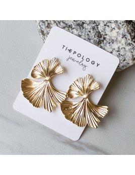 Tiepology Metal Gingko Leaf Drop Earrings - Gold