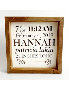 P Graham Dunn Personalized Baby Stat Framed Square Sign