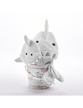 Baby Aspen Let the Fin Begin 4 Piece Gift Set - Grey