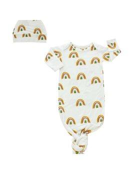 Emerson & Friends Rainbow Bamboo Gown & Hat Newborn Baby Gift Set