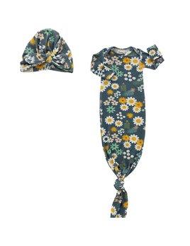 Emerson & Friends Blue Daisy Bamboo Gown & Hat Newborn Baby Gift Set