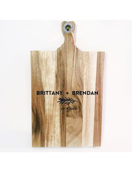P Graham Dunn Personalized Acacia Cutting Board - Couple + Date