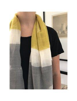 See Design Wool Scarf: Block - Grey/Citron