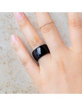 Tiepology Bold Agate Ring - Black