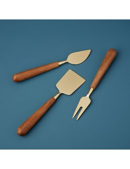 Be Home Gold & Wood Cheese Set