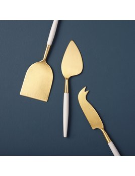 Be Home White & Gold Cheese Set