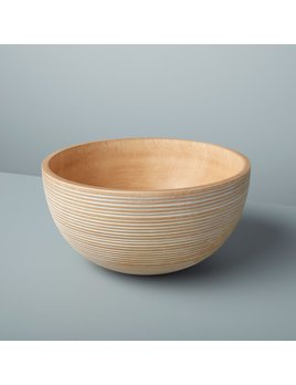 Be Home White Stripes Kiln Mango Wood Bowl - Large