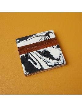 Be Home Zebra Marble & Wood Coasters - Set of 4