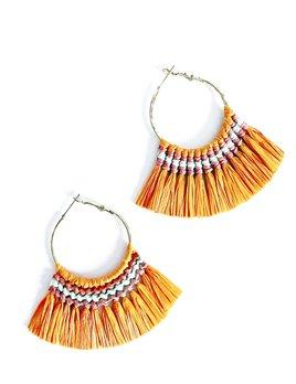 Delilah Studios Sunset Raffia Fringe Earrings