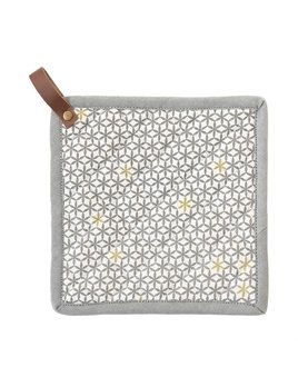 Bloomingville Cotton Pot Holder with Geometric Pattern & Leather Loop - Multi Color