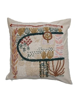 """Creative Co-op 20"""" Square Cotton Blend Pillow w/ Embroidery - Multi Color"""