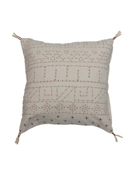 """Creative Co-op 18"""" Square Cotton Embroidered Pillow w/ Piping & Tassels - Natural & Rust Color"""