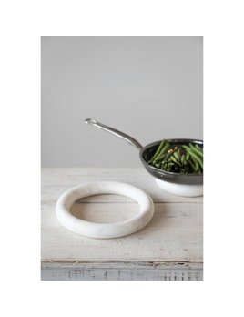 Creative Co-op Round Marble Trivets - White - Set of 2