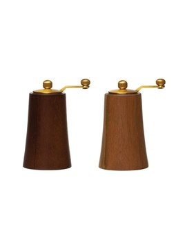 Creative Co-op Acacia Wood & Stainless Steel Salt & Pepper Mills - Gold Finish