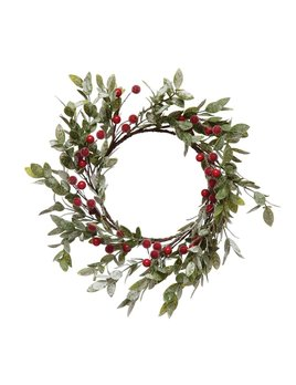 """Creative Co-op 12"""" Round Faux Leaves & Red Berry Wreath, Frost Finish"""