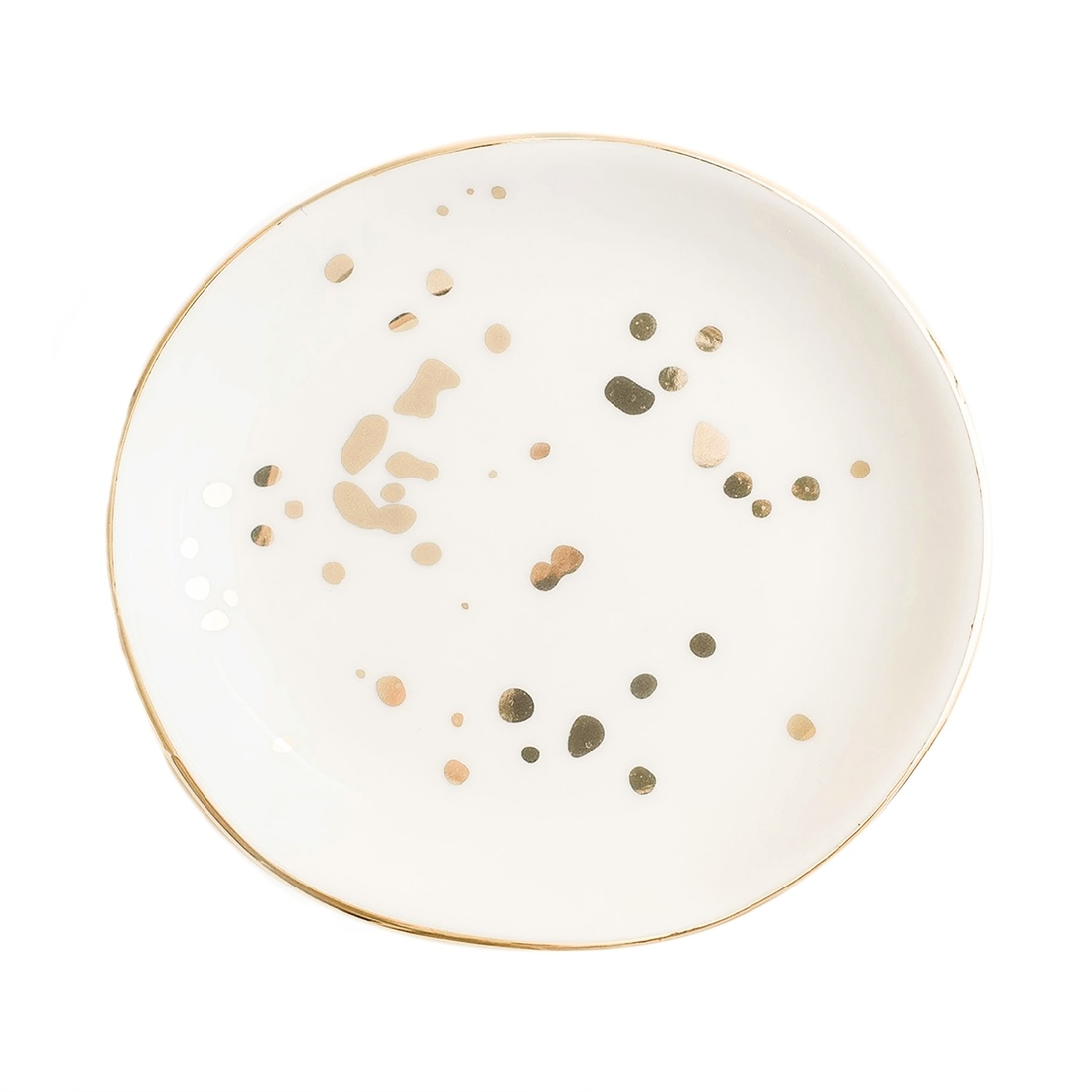 Sweet Water Decor White Gold Speckled Jewelry Dish