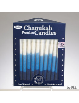 Rite Lite LTD. Premium Chanukah Candles - Blue/White Tri-Color