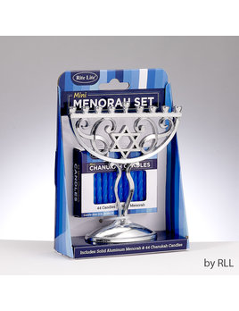 Rite Lite LTD. Mini Menorah Set - Aluminum w/ 44 White Candles