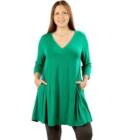 V-Neck Tunic Dress, Plus